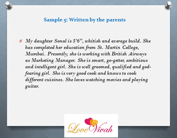 description samples written by the parents - Profile Description Sample
