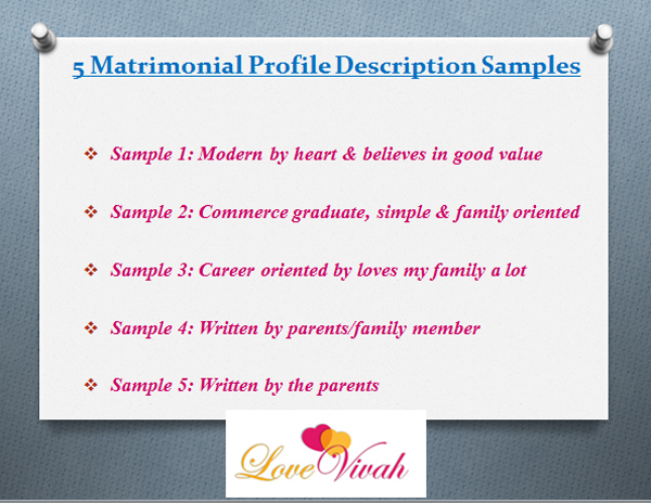 Matrimonial Profile Description Samples