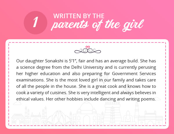 girls matrimonial profile sample written by parents